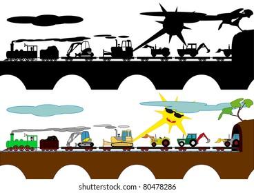 Children's train on the bridge carrying bulldozers