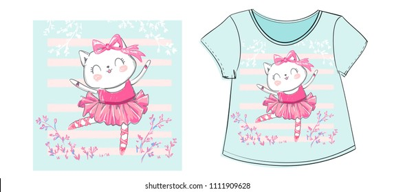Children's t-shirt for girls with print, cat ballerina vector illustration