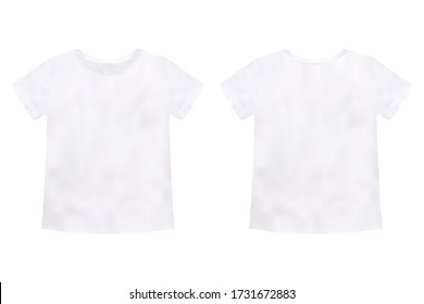 Children's t-shirt mockup isolated on white background. Unisex tee template. Realistic style. Vector illustration