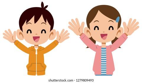 Children's upper body sister's upper body to rejoice