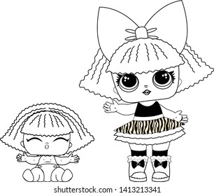 Children's vector  coloring, depicted funny dolls