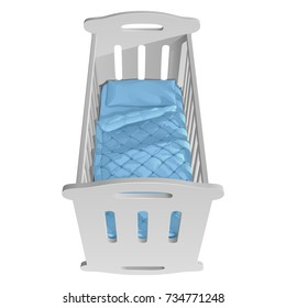 Children's white cot rocking chair with handrails, blue blanket and pillow, top view. Isolated vector illustration on   white background.