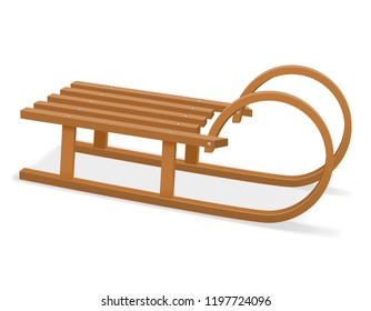 childrens wooden sleigh stock vector illustration isolated on white background