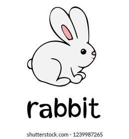 Children`s word card, learning, vocabulary, education, english language, cartoon vector bunny, black outline, line art, rabbit