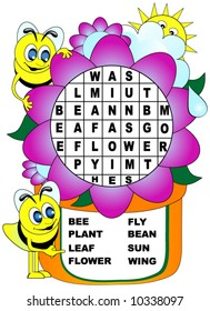 Children's word search. Bees and flower theme.