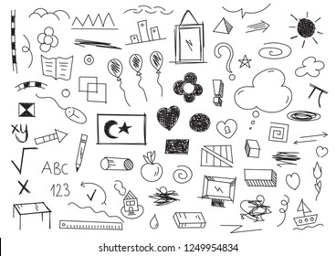 children's world, children's drawings doodle hand drawn