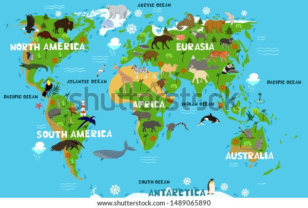 Childrens World Map Names Continents Oceans Stock Vector ...
