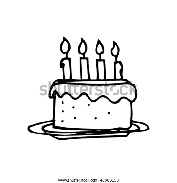 Terrific Childs Drawing Birthday Cake Stockvector Rechtenvrij 48883153 Funny Birthday Cards Online Eattedamsfinfo