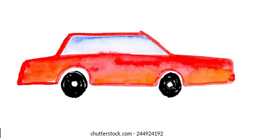 Child's drawing car. Watercolor vector illustration.