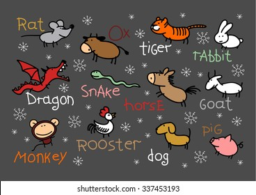Child's drawing of Chinese Zodiac signs