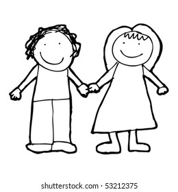 child's drawing of a couple