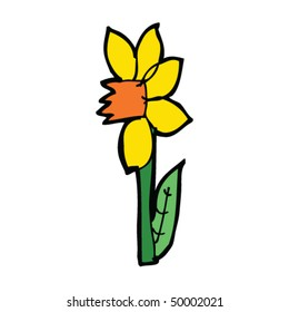 child's drawing of a daffodil
