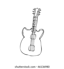 Royalty Free Stock Illustration Of Guitar Classic Acoustic Drawing