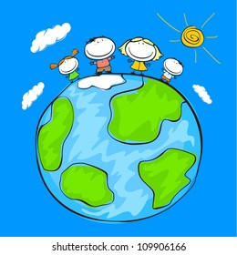 Child's drawing of the happy family on the Earth