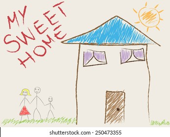 Child's drawing of his home and family