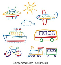Child's drawing of transport Set icons, a child's drawing, and transport. Vector.