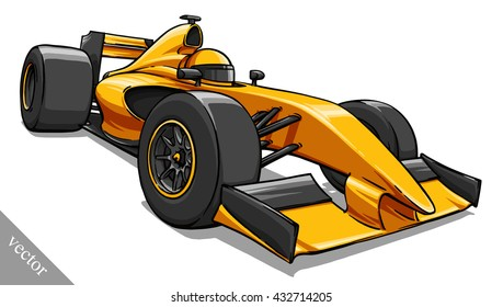 Childs Funny Cartoon Formula Race Car Vector Illustration Art