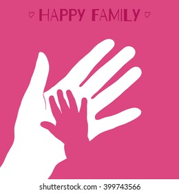 Child's hand with mother's hand on pink background.