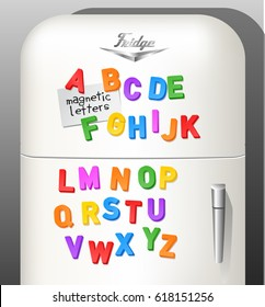 Child's plastic magnetic alphabet letters displayed on vintage refrigerator. Use as font or design elements. Vector illustration.