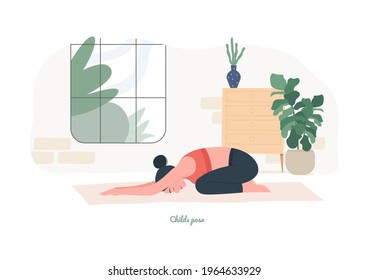 Childs pose Yoga pose. Young woman practicing yoga  exercise. Woman workout fitness, aerobic and exercises. Vector Illustration.