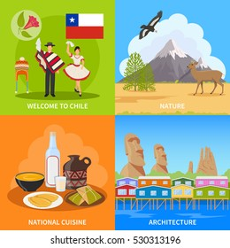 Chile 2x2 design concept set of nature architecture national cuisine and costume flat compositions vector illustration