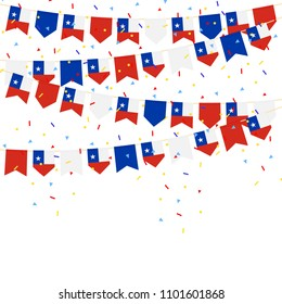 Chile bunting flags with Confetti And Ribbons on white background.vector illustration