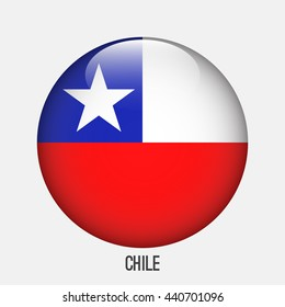 Chile flag in circle shape. Transparent,glossy,glass button