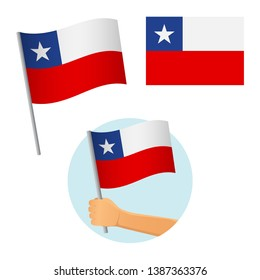 Chile flag in hand. Patriotic background. National flag of Chile vector illustration