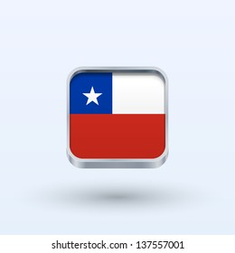 Chile flag icon square form on gray background. Vector illustration.