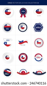 Chile Flag Seal Collection, Chilean National Colors (vector Art)
