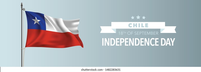 Chile happy independence day greeting card, banner vector illustration. Chilean national holiday 18th of September design element with waving flag on flagpole