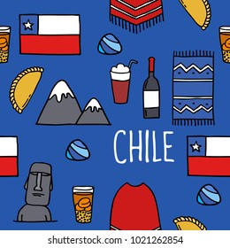 Chile icons. Chilean theme seamless doodle pattern