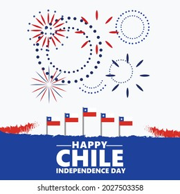 Chile independence day celebration with its national flags and fireworks. South American country public holiday.