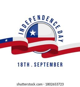 Día de la Independencia de Chile con ilustración vectorial de la cinta de bandera. buena plantilla para el diseño del día de la independencia de Chile.