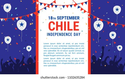 Chile Independence Day Greeting Card. Flying Flat Balloons In National Colors of Guatemala. Happy Independence Day Vector Illustration. Chile Flag Balloons.
