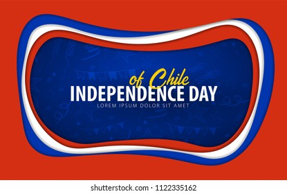 Chile. Independence day greeting card. Paper cut style