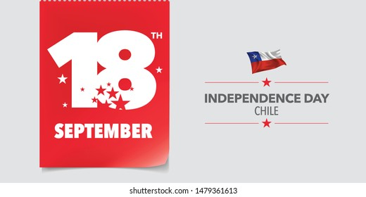 Chile independence day greeting card, banner, vector illustration. Chilean national day 18th of September background with elements of flag in a creative horizontal design