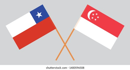 Chile and Singapore. Chilean and Singaporean flags