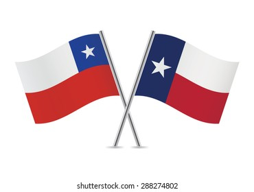 Chile and Texas flags. Vector illustration.