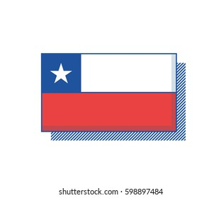 Chile vector flag. Trendy editable design