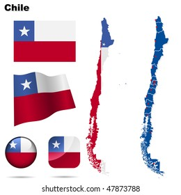 Chile vector set. Detailed country shape with region borders, flags and icons isolated on white background.