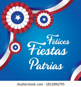 """Chilean Independence Day, message that says """"Felices Fiestas Patrias"""" Chile celebration decoration with cockade, vector blue background illustration."""