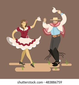 "Chilean typical dance ""cueca"".Flat style color modern vector illustration. (Huaso, cueca)"