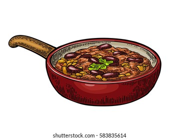 Chili con carne in pan - mexican traditional food. Vector vintage color engraved illustration for menu, poster, web. Isolated on white background
