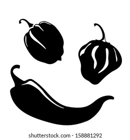Chili and habanero peppers silhouettes