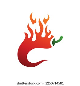 The chili logo is burning, Letter C for chili, chili fire vector logo