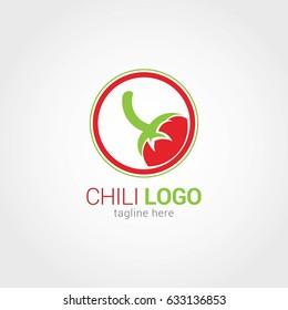 Chili Logo Design Template. Vector Illustration