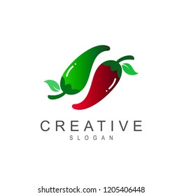chili logo, two spicy chili logos + icon of spicy cuisine