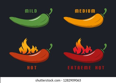 Chili Mild, Medium, Hot, Extreme Hot With Flame - Colorful Vector Illustration - Isolated On Black Background
