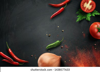 Chili and onion ingredients on chalkboard in 3d illustration